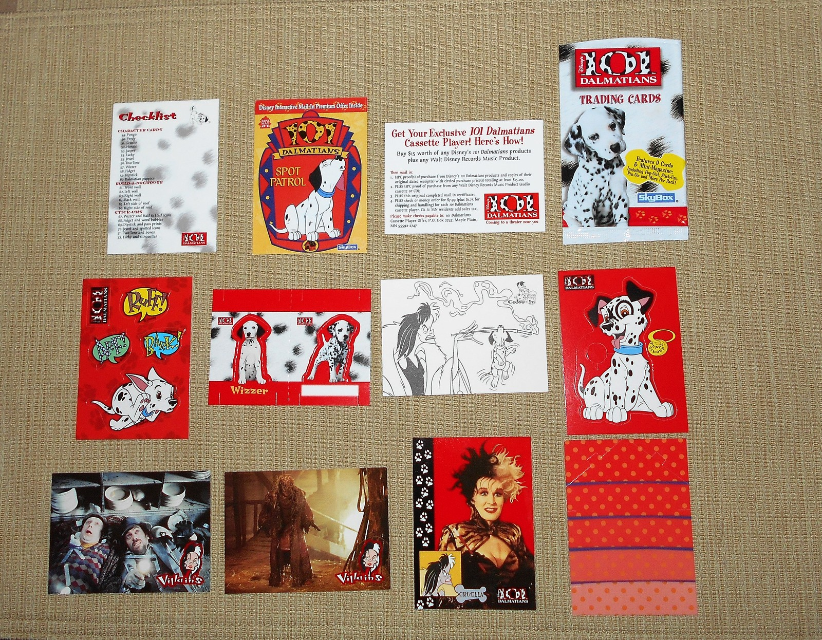 8 SkyBox Disney 101 Dalmatians Trading Cards 1996-R + Checklist & Mini-Magazine