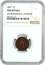 1869 1c NGC Fine Details (Environmental Damage) - Indian Cent - Scarce Date - $213.40