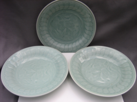 Three Vintage Chinese Green Celadon Salad/Dessert Plates w/ Scaly Fish M... - $700.00