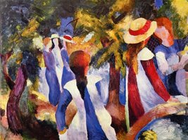 100% Hand Painted Oil on Canvas - Girls in the Open by August Macke - 30... - $404.91