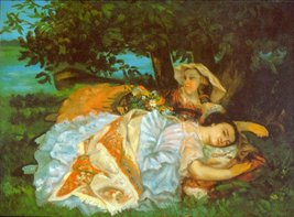 100% Hand Painted Oil on Canvas - Girls on the Bank by Courbet - 30x40 Inch - $404.91