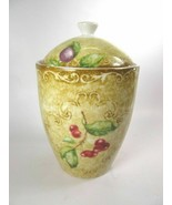 "Orchard Road 6 1/4"" Canister with Lid 222 Fifth Fruit Branches Tan Backg... - $12.60"