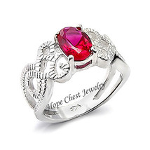Hcj Silver Tone 0.70 Carat Oval Red Cz Spiral Design Band Fashion Ring Size 8 - $13.49