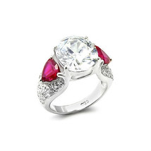 Hcj Silver Tone 1 Oval & 2 Heart Cz 3 Stone Fashion Statement Ring Size 8 - $19.48