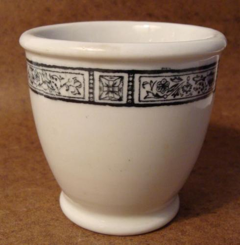 Vintage Jackson China Egg Cup Restaurant Ware Black Cream Border Falls Creek PA