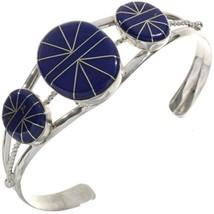 NAVAJO HANDMADE Three Stone Inlaid Lapis Bracelet Southwest Ladies Silve... - €210,96 EUR