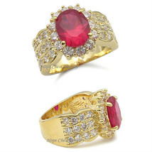 Hcj Gold Tone 2 Carat Oval Red Cz Engagement Fashion Ring Size 7 - $17.98