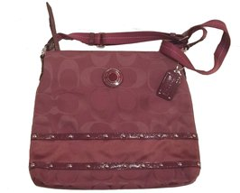Coach Studded Sateen Stripe Crossbody Handbag Purse Tote - $255.42