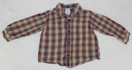 Boys Old Navy Tan, Red and Green Plaid Long Sleeve Shirt XL 18-24 Months - $8.99