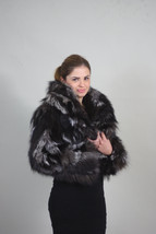 Silver Fox Fur Bolero/ Luxury gift/wedding,or anniversary present/ silve... - $257.00