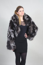 Silver Fox Fur Bolero/ Luxury gift/wedding,or anniversary present/ silver bolero image 2