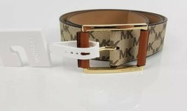 $58 Micheal Kors Belt Tan Brown MK Logo Print Gold Buckle Large New - $44.54