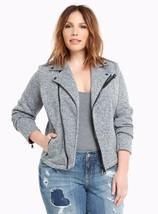 New Torrid Womens Plus Size 5X 32W Gray Heavy Marled Knit Moto Motorcycle Jacket - $58.04