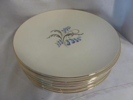 "vintage 8 pc set Edwin KNOWLES China BLUEBELLS floral pattern 10"" DINNER... - $31.99"