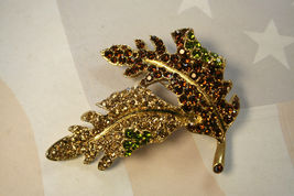 Kenneth Lane Bejeweled Leaf Pin Brooch with Rhinestones Avon  - $24.99