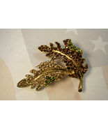 Kenneth Lane Bejeweled Leaf Pin Brooch with Rhinestones Avon  - $24.99