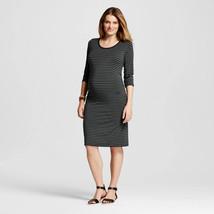 Liz Lange Maternity Olive Navy Striped Scoop Neck 3/4 Sleeve T-Shirt Dress - $17.98