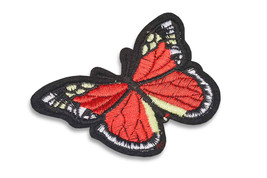 Red Butterfly Sewn-on/Iron-on Embroidery Patch (Primarily Red) Aprox 7.5... - $1.89