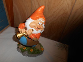 "New 9"" Disney Snow White  Dwarf Garden Gnome- HAPPY (playing Horn) - $32.17"