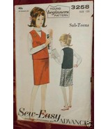 Vintage Advance Sewing Pattern Sub-Teen Jerkin & Wrap Skirt Size 12s 3258 - $4.83