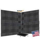 """96 Pack Acoustic Wedge Studio Soundproofing Foam Wall Tiles 12"""" X 12"""" X ... - $97.95"""