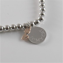 925 RHODIUM SILVER JACK&CO BRACELET WITH 9KT ROSE GOLD CAT KITTEN  MADE IN ITALY image 3