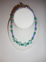 "18""  Beaded Necklace Green accented by Blue & Lavender - Handmade  Acryl... - $10.00"