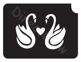 Swans Heart 1001 Body Art Glitter Tattoo Makeup Stencil- 5 Pack - $5.95