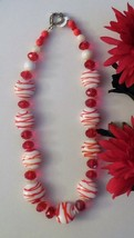 "18"" Bright Orange and White Beaded Necklace Handmade - $10.00"