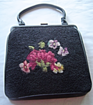 Vintage Mid Century Black Needlepoint Floral Purse Soure Bags New York  - $39.99