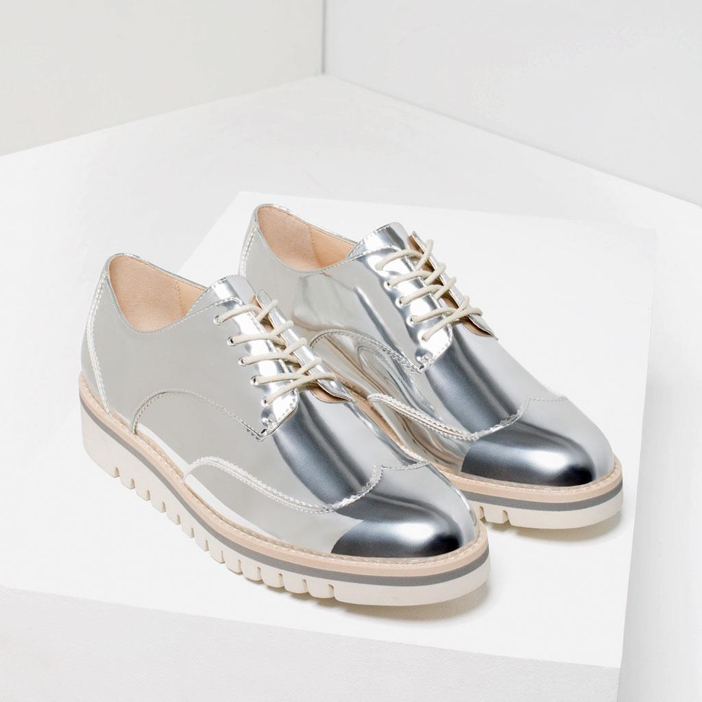 fad39e926e1 Bnwt Zara Silver Tone Flat Shoes With Brogue and 50 similar items