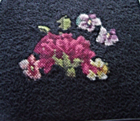 Vintage Mid Century Black Needlepoint Floral Purse Soure Bags New York