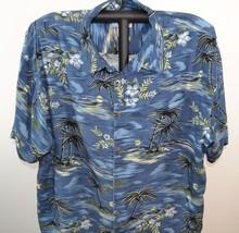 Big Dogs Hawaiian Shirt 3X Blue Night Scene SS Big Dog Playing Ukulel 10... - $49.39