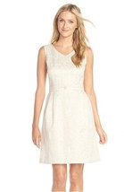 Women's Ellen Tracy Floral Jacquard Fit & Flare Dress, Size 2 - Ivory/gold - $32.66