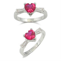 HCJ SILVER TONE 0.90 CARAT RED HEART 3 STONE CZ ENGAGEMENT RING SIZE 9 - $13.49