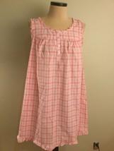 Adonna Large 100% Cotton Lawn Nightgown Sleeveless Pink White Check Plai... - $49.99