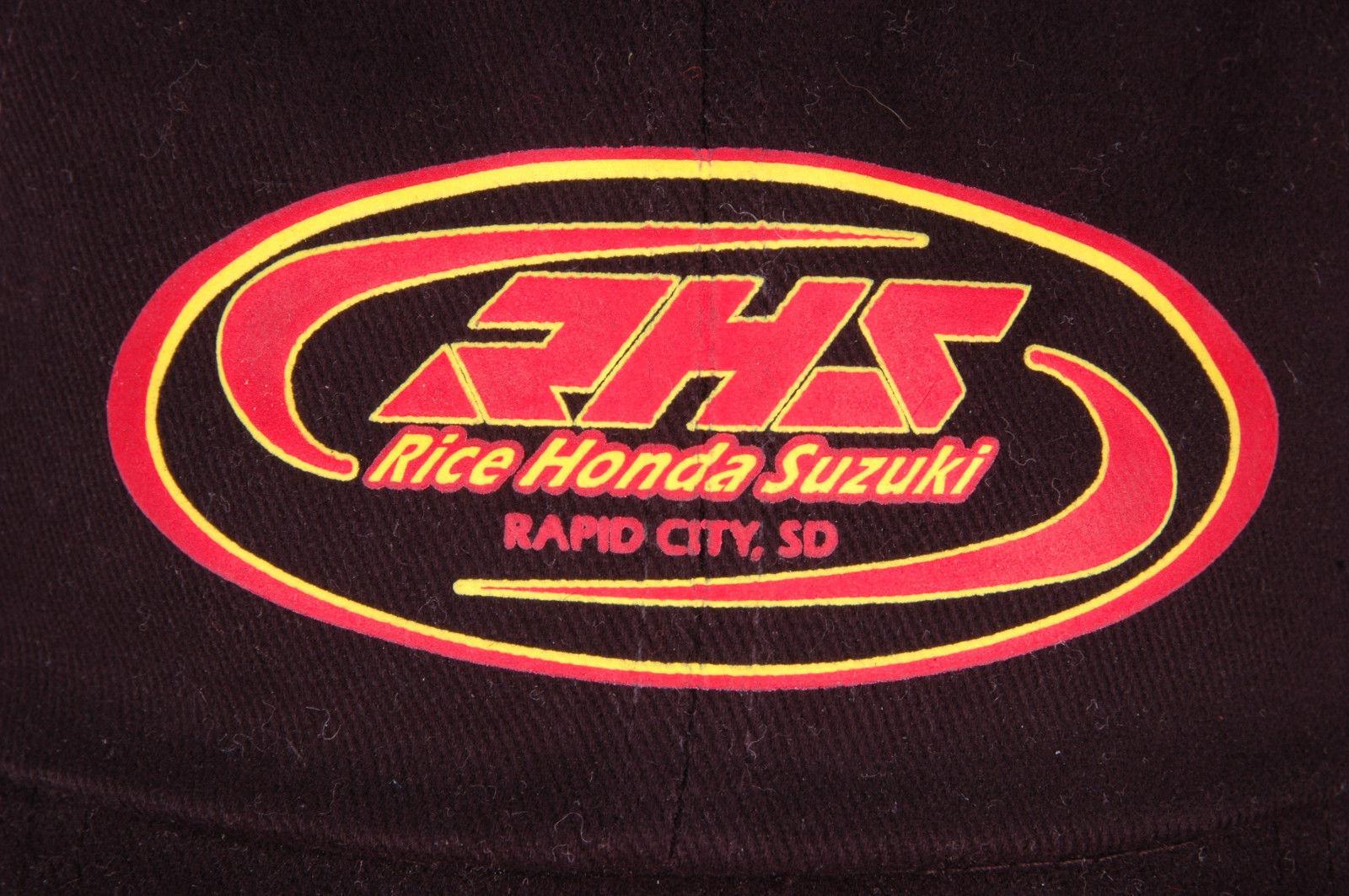 RHS Rice Honda Suzuki Hat-Rapid City SD-Strapback-Black-Cotton-Metal Eyelets-Vtg