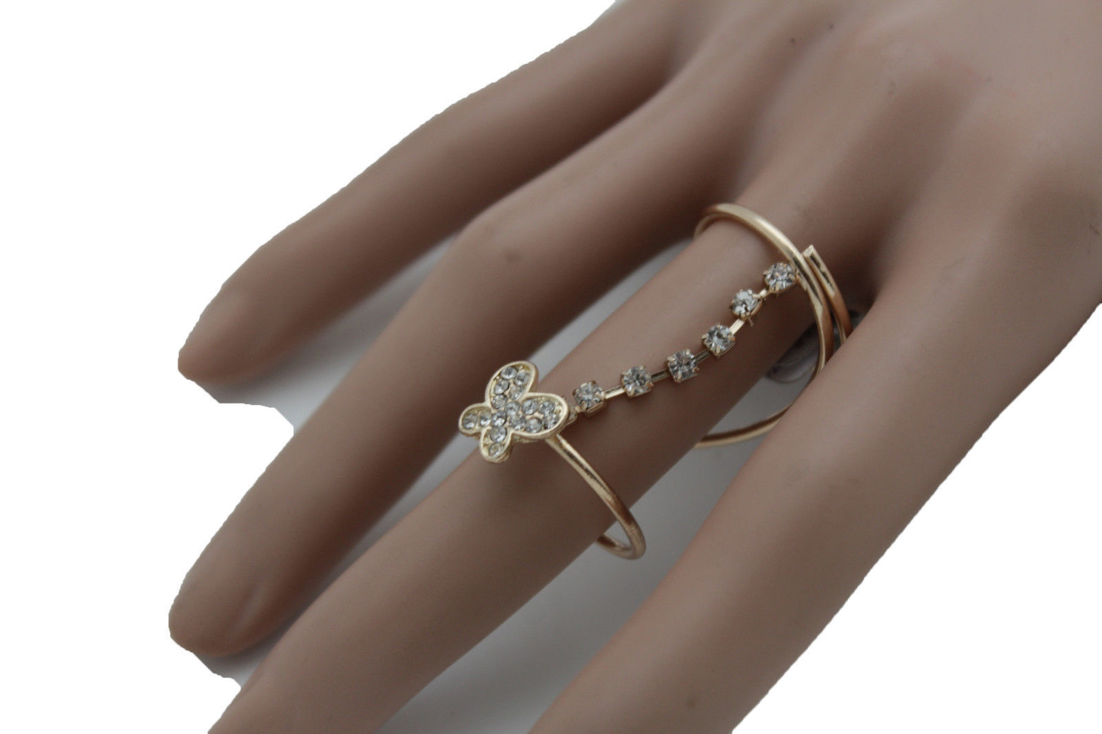 Women Gold Wrap Around Long Finger Band Ring Fashion Jewelry Butterfly Size 7.5