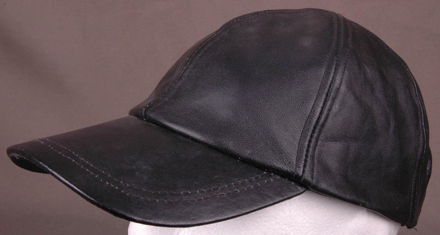 Black Genuine Leather Hat-Baseball Cap-Hook&Loop Back-Biker Surf Skate Street...
