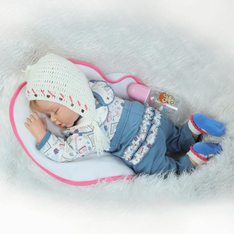 "New 22"" Handmade Vinyl Silicone Reborn Baby Dolls Lifelike Doll Girl Gift Aleen"
