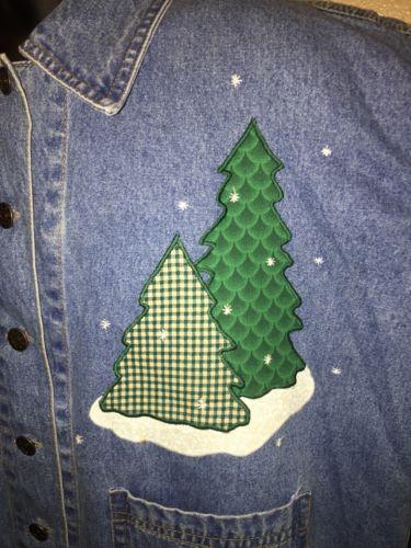 CASEY COLEMAN Women's Blue Denim Button Down Snowman Winter Christmas Tree SZ SM
