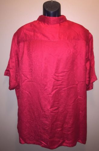 Club Room Red Floral Palms Button Up Shirt Shiny Satin Camp Loop Linen SZ XL