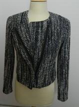 CABI JACKET  Moto Mockingbird Jacket Tweed Black, Gray and White Size 4 image 5