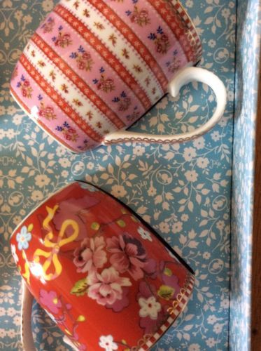 PIP STUDIO HOME Floral Collection Gift Box 4 pc PINK RED Small Coffee TEA MUGS