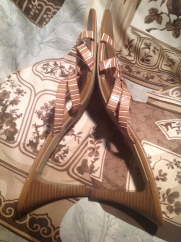 CATO BROWN TAN STRAPPY CAREER HEELS SANDALS SLIP ON WOMEN'S SIZE 10M SHOES