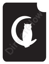 Owl In Cescent Moon 1005 Body Art Glitter Tattoo Makeup Stencil- 5 Pack - $5.95