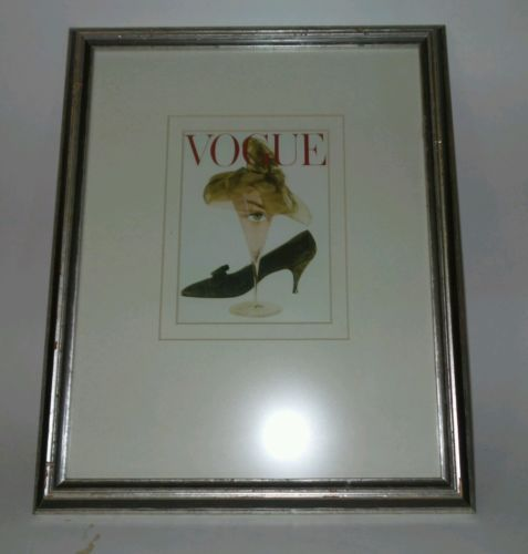 "Vintage Vogue Martini Glass Cover on 12 1/2"" X 16"" Retro Frame"
