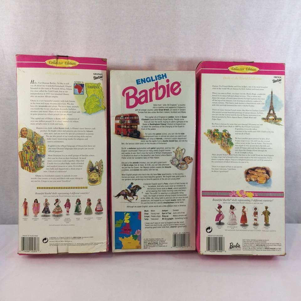 3 Collectible Barbies NIB (1991-1996) English, French, Ghanian Barbies