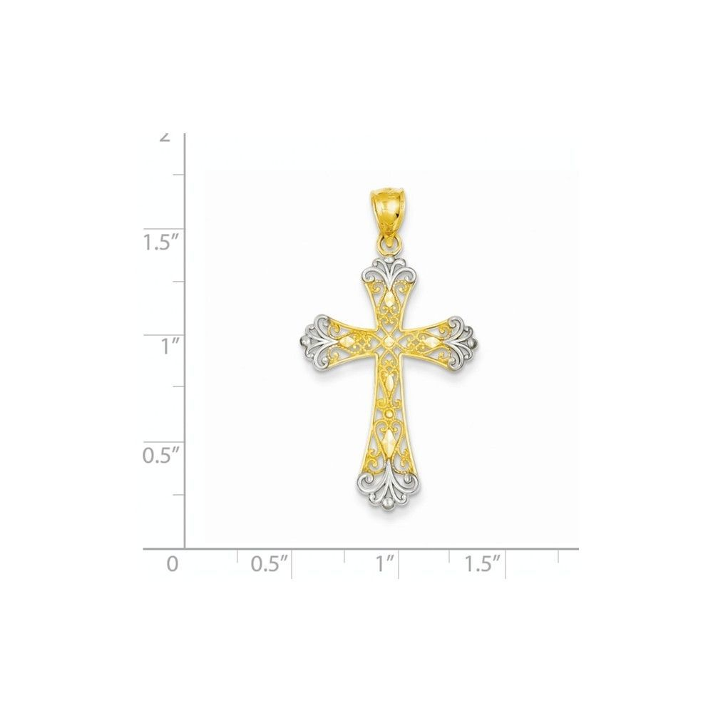 14K Gold Two-tone Fancy Diamond-cut Filigree Cross Charm Pendant  1.5 Inch