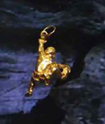 Rock Mountain Climber Gold plated Charm Mountaineering
